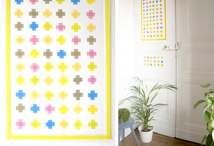 croix masking tape la t te dans les id es. Black Bedroom Furniture Sets. Home Design Ideas